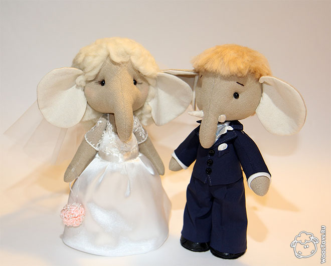 Свадебные слоны - Игрушки из текстиля - Заказать и купить мягкие игрушки - WoolToys.ru