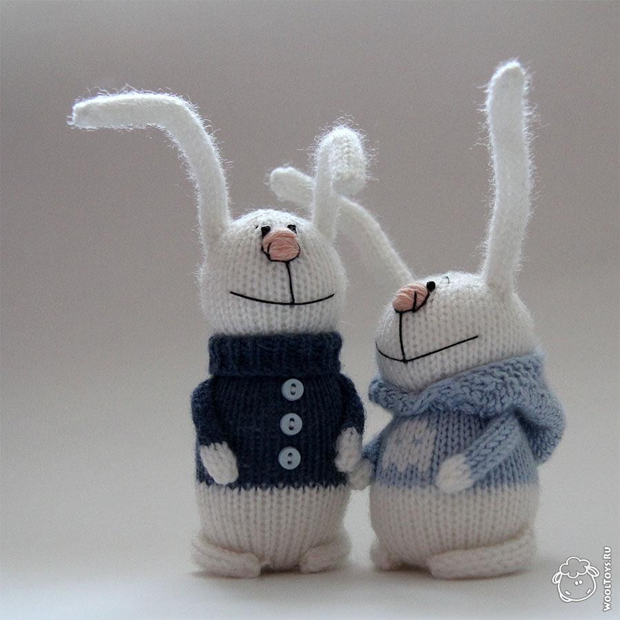 зимние зайцы вязаные игрушки заказать и купить мягкие игрушки