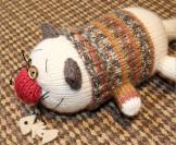 Вязаный мягкий и круглый кот «Колбаскин»